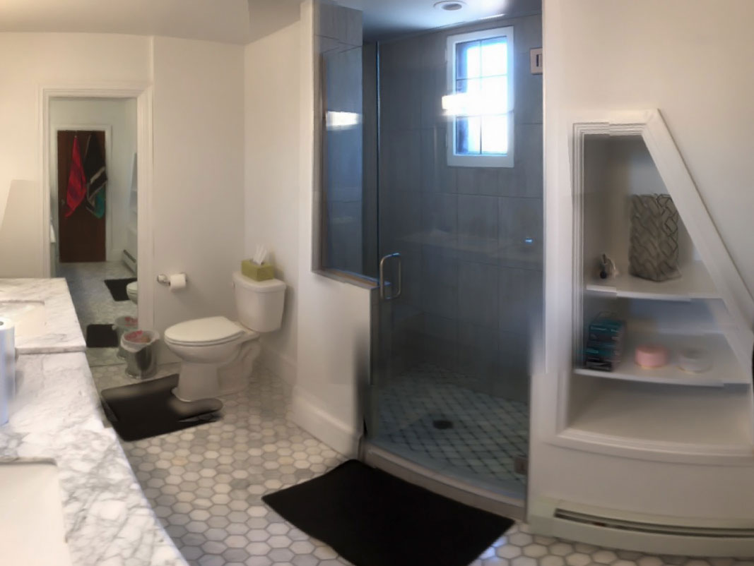 Contemporary Bathroom Remodel - Craftworks Custom Cabinetry - Rochester, NY