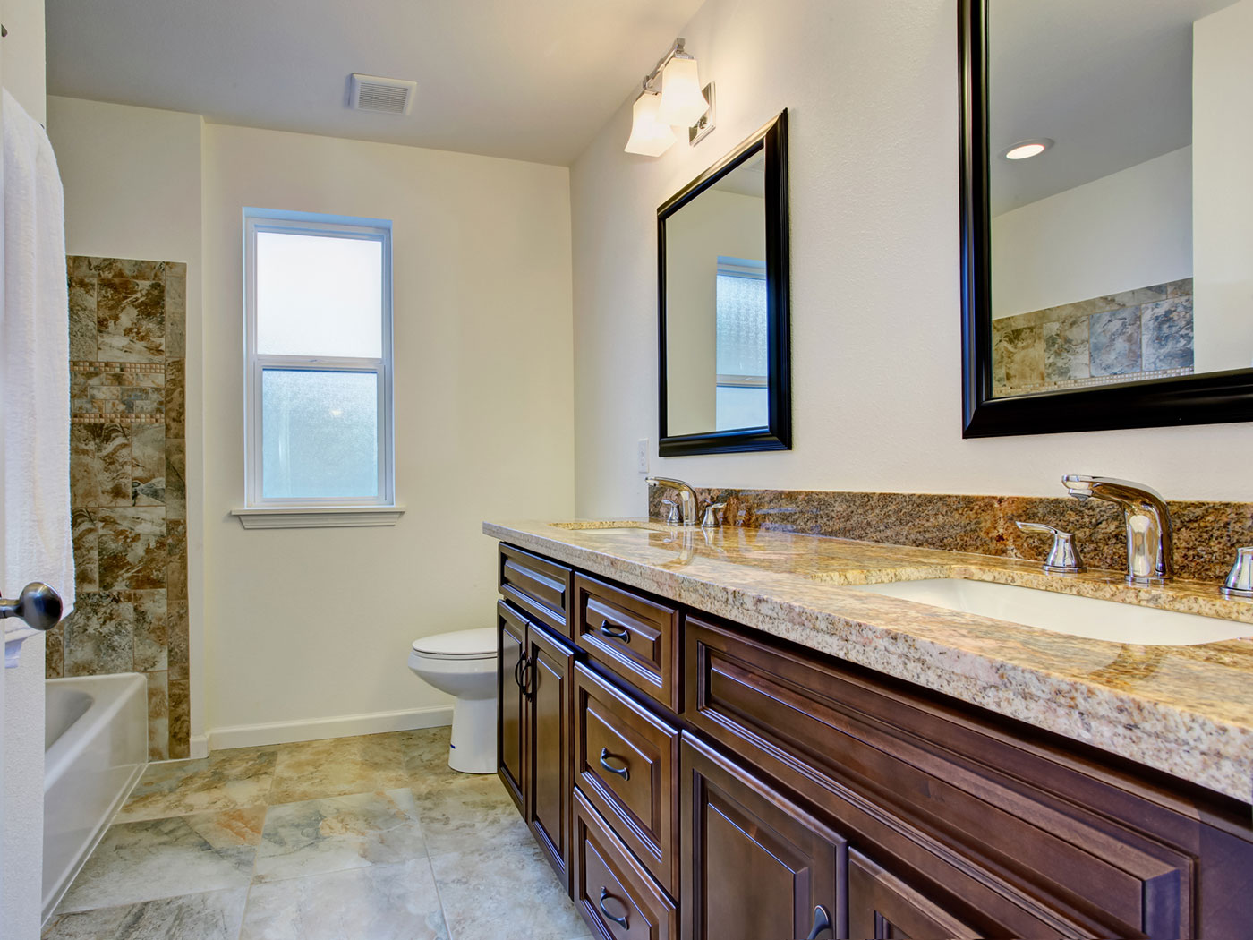 Custom Bathroom Remodel with Tile Flooring - Craftworks Custom Cabinetry - Rochester, NY