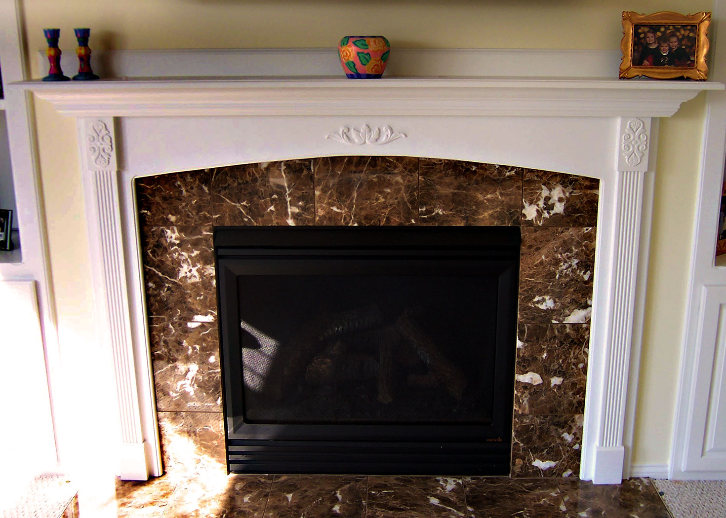 Built-in Shelving & Fireplace Mantel - Craftworks Custom Cabinetry - Rochester, NY