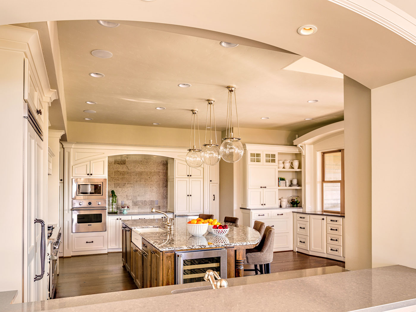 Custom White Marble Kitchen Remodel - Craftworks Custom Cabinetry - Rochester, NY
